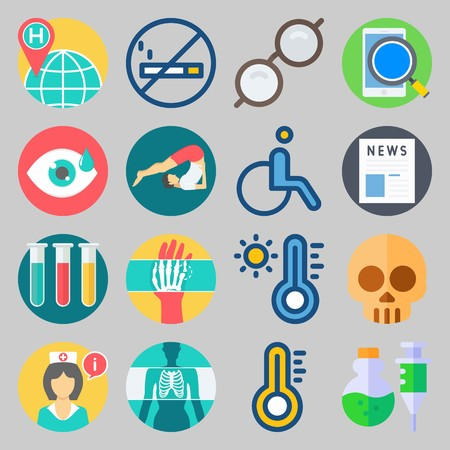 icon set about Medical. with tubes, yoga and nurse Vector illustration on gray background.