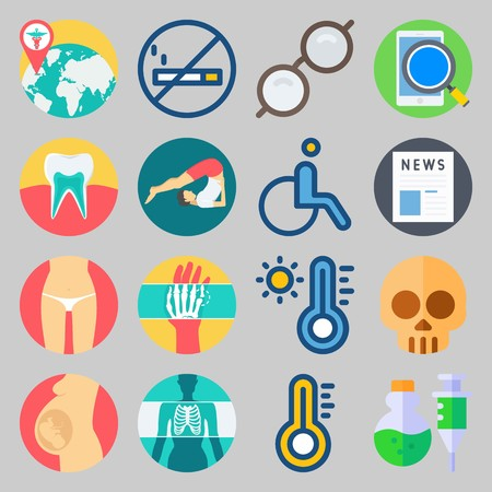 icon set about Medical. with thermometer, skull and news Vector illustration on gray background.