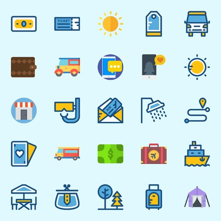 Icons set about travel with tent, tag, travel bus, ticket, smartphone and park.