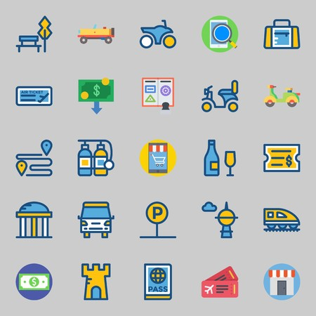 Icons set about travel with money, parking, ticket, tower, passport and sport bag.