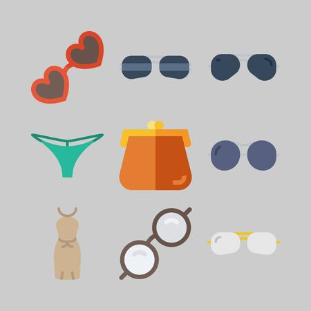 Icon set about women clothes with glasses, dress and thong.