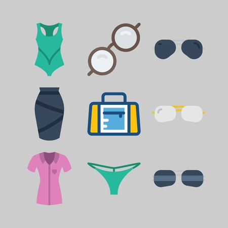 Icon set about women clothes with bikini, skirt and sport bag. Illustration