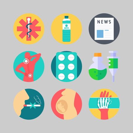 Icon set about medical with tablets, pain and pharmacy illustration.