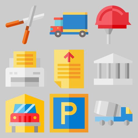 icons set about Real Assets with van, printer, truck. Vector illustration on gray background.