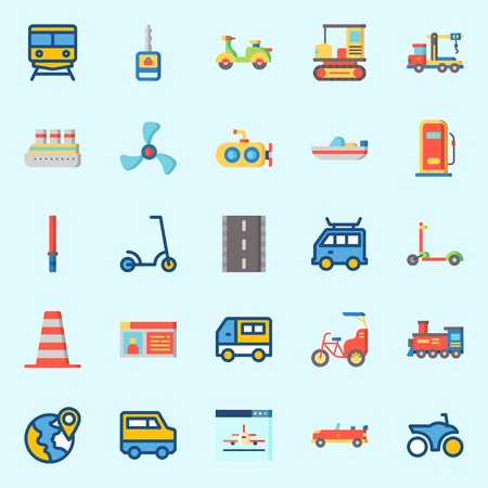 Icons set about Transportation with plane, boat, driving license, gas station, crane and propeller