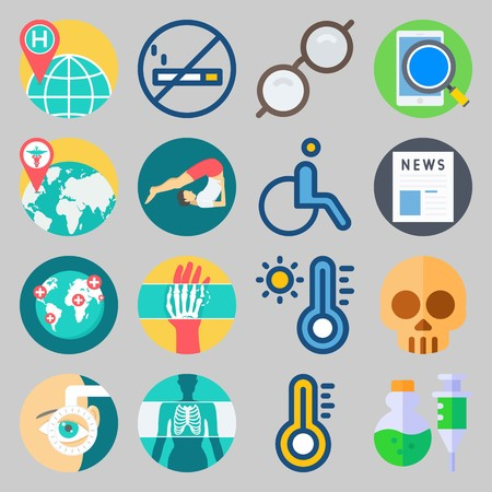 icon set about Medical. with search, smartphone and newspaper
