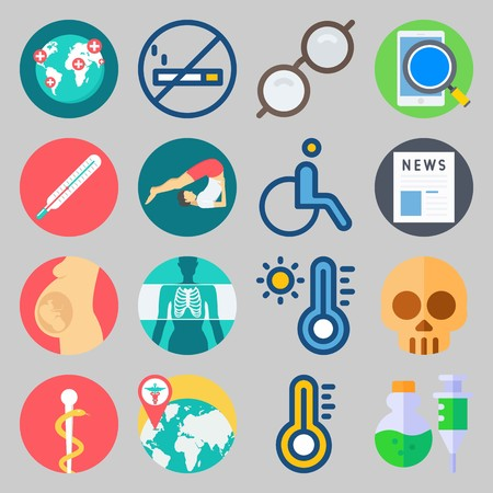 icon set about Medical. with yoga, newspaper and glasses