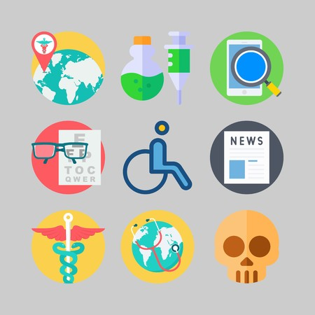 icon set about Medical. with pharmacy, snellen chart and search