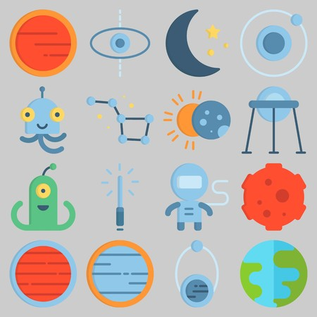 Icon set about Universe with  earth, constellation, astronaut, neptune, mars and venus