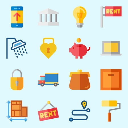 Icons set about real assets with up, truck, location, purses, padlock and monumental.