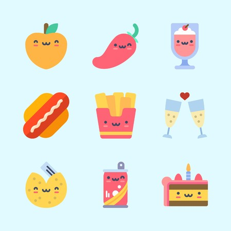 Icons about food with hot dog, fries, toast, fortune cookie, cake and milkshake. Standard-Bild - 95664940