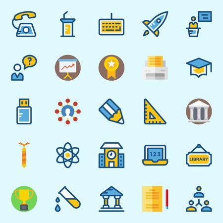 icons set about School And Education with missile, mortarboard, tie, medal, school and library