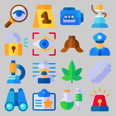 icon set about Crime Investigation with magnifying glass, glass and marijuana