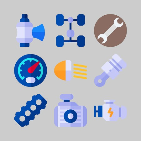 icon set about Car Engine. with piston, motor and valve Vectores