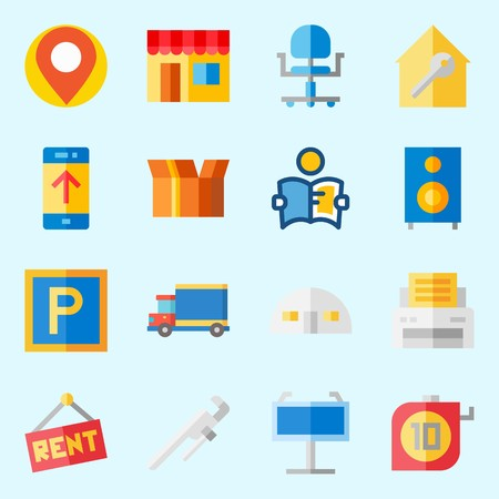 icons set about Real Assets. with placeholder, store house, real estate, up, measuring and single