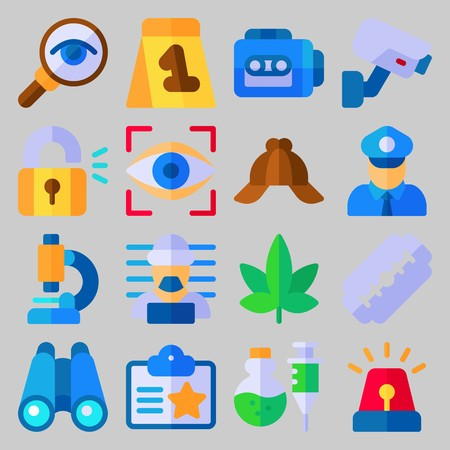 icon set about Crime Investigation. with padlock, tape recorder and glass