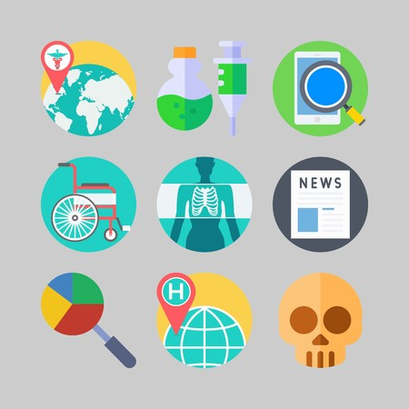 icon set about Medical. with world hospital, search and newspaper