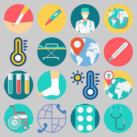 Icon set about Medical with keywords test tubes, location, sprain, surgery, stethoscope and worldwide