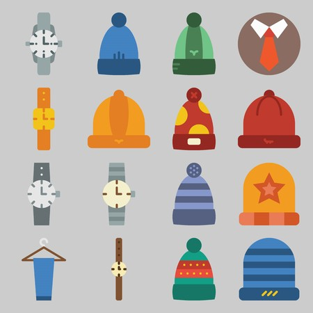 icon set about Man - Clothes. with hat, trousesr and tie 向量圖像