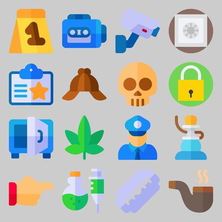 icon set about crime and investigation. Illustration