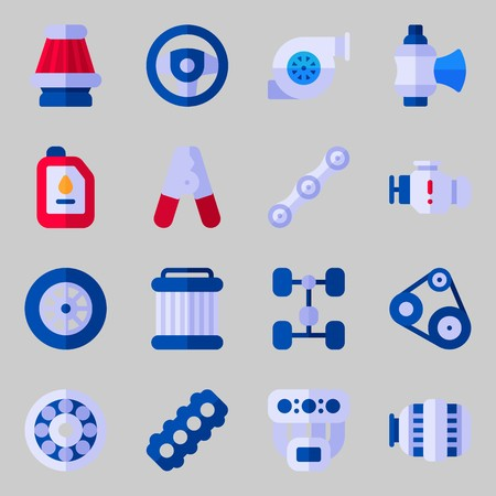 Icons set about Car Engine. with oil, belt and valve