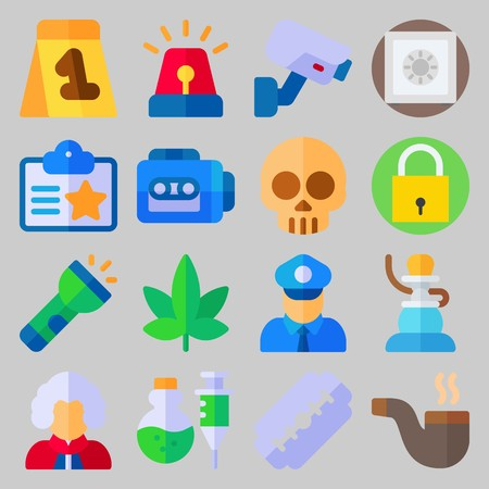 icon set about Crime Investigation. with security camera, razor and evidence Illustration