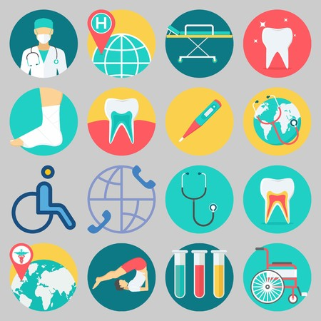 Icon set about Medical with keywords sprain, teeth, surgeon, stretcher, wheelchair and stethoscope