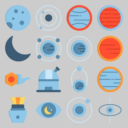Icon set about UniversE with observatory, comet and observation