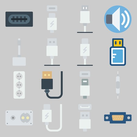 icon set about Connectors Cables. with usb, socket and volume