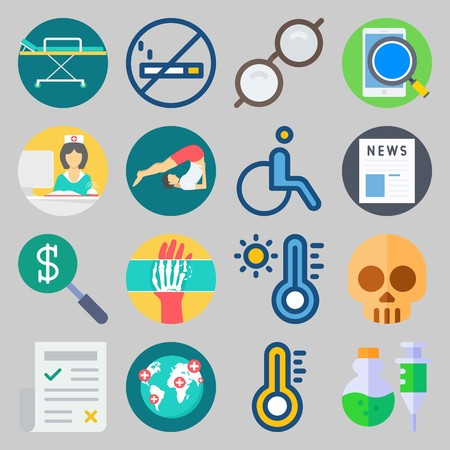 icon set about Medical. with poison, glasses and worldwide hospitals