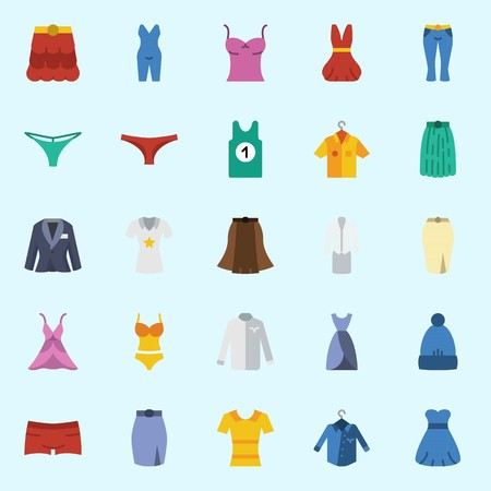 icons set about Women Clothes. with dress, suit, panties, pijamas, winter hat and skirt