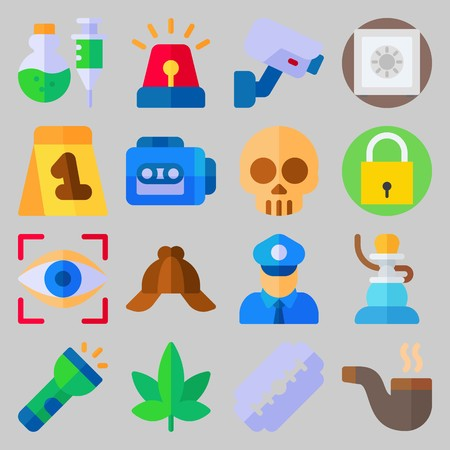 Icon set about Crime Investigation with shisha, tape recorder and cap