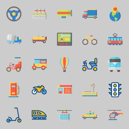 icons set about Transportation. with bike, driving license, truck, taxi, car and hot air balloon