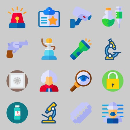 icons set about Crime Investigation. with safebox, security camera, poison, padlock, pipe and revolver