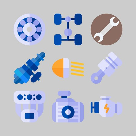 icon set about Car Engine. with manifold, wrench and chassis Illustration