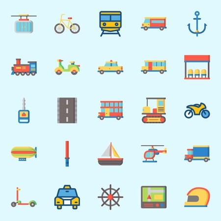 Icons set about Transportation. with car key, locomotive, double Decker, anchor, taxi and rudder Stok Fotoğraf - 95627067