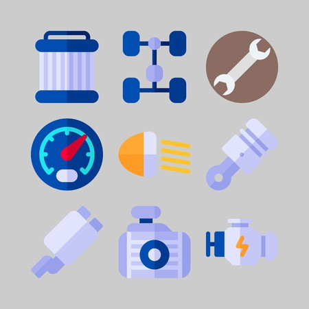 Icon set about Car Engine. with wrench, pulley and motor