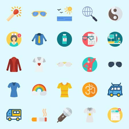 icons set about Hippies. with cigarete, sun, rainbow, newspaper, om and shirt