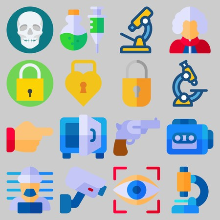 Icon set about Crime Investigation with keywords safebox, poison, tape recorder, revolver, point and eye scan Illustration