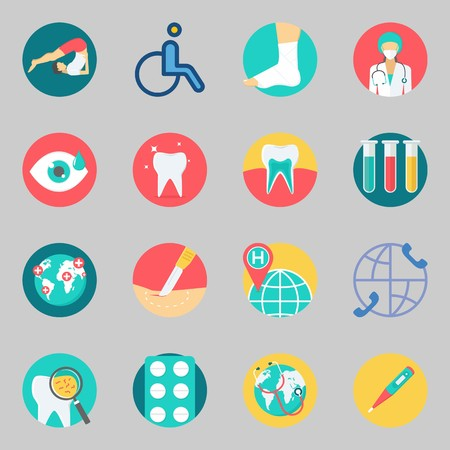 Icons set about Medical. with thermometer, tablets and test tubes Illustration