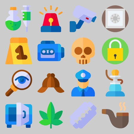 icon set about Crime Investigation. with poison, razor and security camera