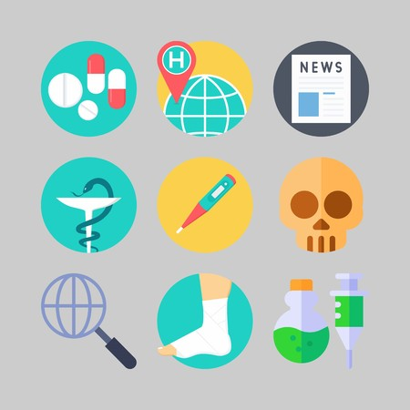 icon set about Medical. with skull, world hospital and news Illustration