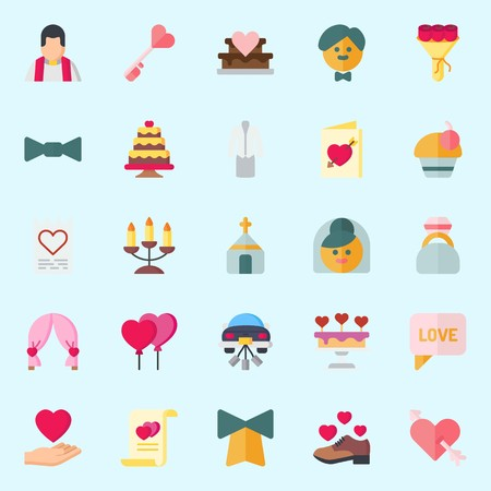 icons set about Wedding. with groom, church, love letter, wedding car, chat and shoe