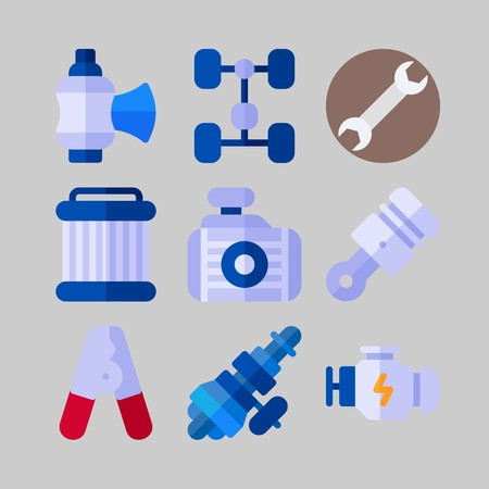 icon set about Car Engine spare parts.