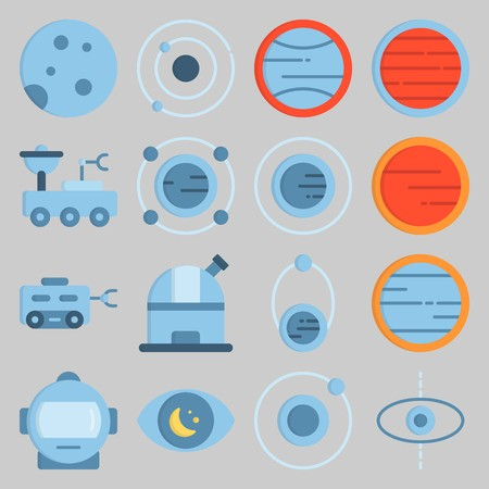 Icon set about Universe with observatory, orbit and astronaut Çizim
