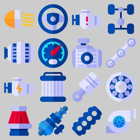 Icon set about Car Engine with keywords gauge, engine, sreering wheel, distribution, motor and chassis