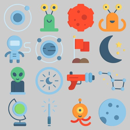 Icon set about Universe with keywords astrology, flag, meteorite, alien, earth glope and blaster Illustration