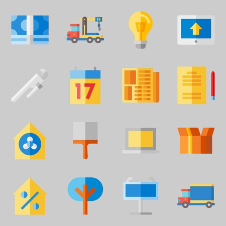 Icons set about Real Assets. with reparation, seventeen and work tools