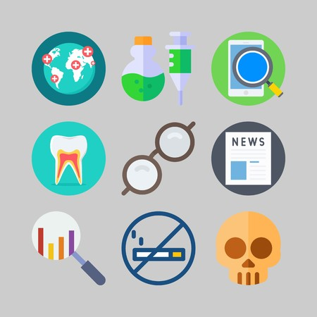icon set about Medical. with no smoking, news and glasses