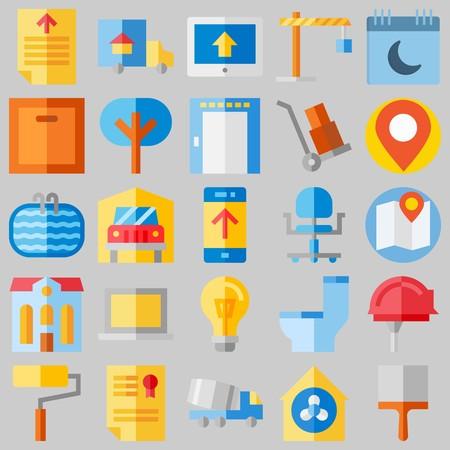 conjunto de iconos sobre activos reales. con diploma, hotel y cabrestante